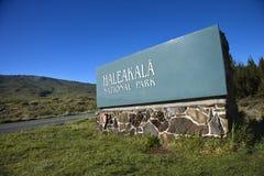 Signe de stationnement national de Haleakala. Photos stock