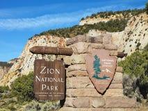 Signe de stationnement national de Zion. images stock