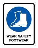 Signe de symbole de chaussures de s?curit? d'usage, illustration de vecteur, isolat sur le label blanc de fond EPS10 illustration de vecteur