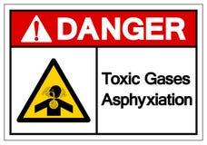Signe de symbole d'asphyxie de gaz de toxique de danger, illustration de vecteur, isolat sur le label blanc de fond EPS10 illustration libre de droits