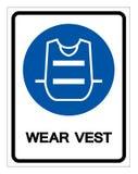 Signe de symbole de gilet d'usage, illustration de vecteur, d'isolement sur le label blanc de fond EPS10 illustration stock