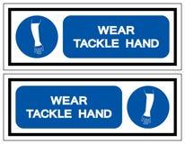 Signe de symbole de main d'attirail d'usage, illustration de vecteur, isolat sur le label blanc de fond EPS10 illustration libre de droits