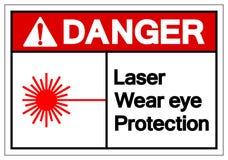 Signe de symbole de protection oculaire d'usage de laser de danger, illustration de vecteur, isolat sur le label blanc de fond EP illustration stock