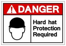 Signe de symbole requis par protection de casque antichoc de danger, illustration de vecteur, isolat sur le label blanc de fond E illustration de vecteur