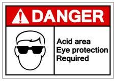 Signe de symbole requis par protection oculaire acide de région de danger, illustration de vecteur, isolat sur le label blanc de  illustration stock