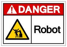 Signe de symbole de robot de danger, illustration de vecteur, isolat sur le label blanc de fond EPS10 illustration libre de droits