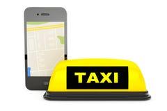 Signe de taxi avec le téléphone portable et la carte illustration libre de droits
