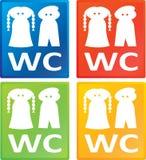 Signe de toilette - femmes/hommes de carte de travail Photos libres de droits