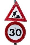 Signe de travaux de route et de limitation de vitesse Photo stock