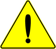Signe de vecteur de jaune d'exclamation d'attention d'attention Image stock