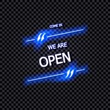 Signe de vecteur : Entrés, nous sommes lettrage au néon ouvert et rougeoyant, d'isolement sur le fond transparent illustration de vecteur