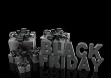Signe de vente de Black Friday avec des boîte-cadeau illustration 3D Illustration de Vecteur