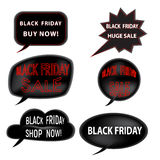 Signe de vente de Black Friday, logos et ensemble de collection de labels Photos stock