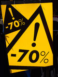 Signe de vente 70 pour cent outre du prix Image libre de droits