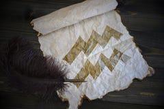 Signe de Verseau du zodiaque sur le papier de vintage avec le vieux stylo sur le bureau en bois image libre de droits