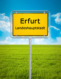 Signe de ville d'Erfurt Image stock