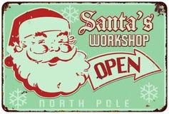 Signe de vintage d'atelier de Santa illustration stock