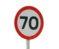 signe de vitesse de 70km Image libre de droits