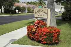 Signe de voisinage de crique d'Eastland Images libres de droits