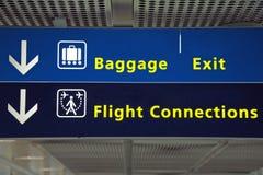 Signe de vol de sens d'aéroport Images stock