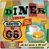 Signe de wagon-restaurant de l'itinéraire soixante-six, Photo stock