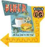 Signe de wagon-restaurant de Route 66 Photographie stock libre de droits