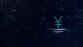 signe de Yens 3d japonais Contexte bleu de cyberespace de l'espace avec des connexions internet L'euro devise est sur trois virtu illustration stock