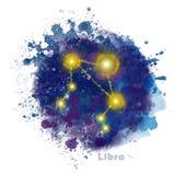 Signe de zodiaque de Balance avec la tache texturis?e d'aquarelle