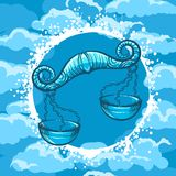 Signe de zodiaque de Balance en cercle d'air illustration stock