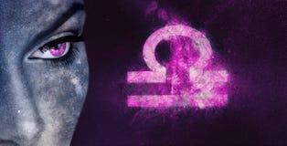 Signe de zodiaque de Balance Femmes d'astrologie de ciel nocturne image libre de droits