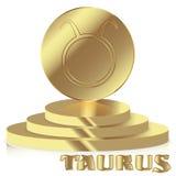 Signe de zodiaque d'or Taureau - symbole astrologique et d'horoscope dessus Photos stock