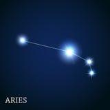 Signe de zodiaque de Bélier des belles étoiles lumineuses Image libre de droits