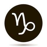 Signe de zodiaque de Capricorne Icône astrologique de symbole en cercle Photo stock