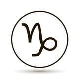 Signe de zodiaque de Capricorne Icône astrologique de symbole en cercle Image stock