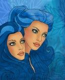 Signe de zodiaque de Gemeni en tant que belle fille illustration stock