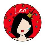 Signe de zodiaque de Lion, avatar féminin Images libres de droits