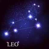 Signe de zodiaque de Lion des belles étoiles lumineuses Image stock