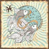 Signe de zodiaque de Poissons Carte d'horoscope de vintage Image libre de droits
