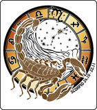 Signe de zodiaque de Scorpion. Cercle d'horoscope Images libres de droits
