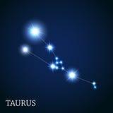 Signe de zodiaque de Taureau des belles étoiles lumineuses illustration libre de droits