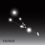 Signe de zodiaque de Taureau des belles étoiles lumineuses Photographie stock