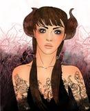 Signe de zodiaque de Taureau en tant que belle fille Photo stock