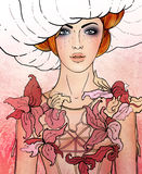 Signe de zodiaque de Vierge en tant que belle fille illustration libre de droits