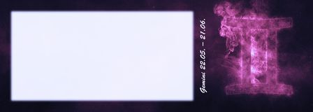 Signe de zodiaque de Gémeaux Signe d'horoscope de Gémeaux Pièce des textes de calibre photographie stock libre de droits