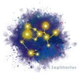 Signe de zodiaque de Sagittaire avec la tache texturis?e d'aquarelle illustration de vecteur