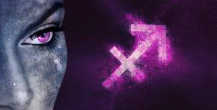Signe de zodiaque de Sagittaire Femmes d'astrologie de ciel nocturne photo libre de droits