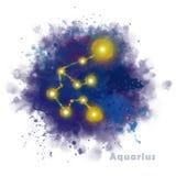 Signe de zodiaque de Verseau avec la tache texturis?e d'aquarelle
