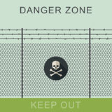 Signe de zone dangereuse et de crâne Image stock