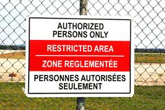 Signe de zone restreinte photos libres de droits