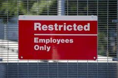 Signe de zone restreinte Image stock